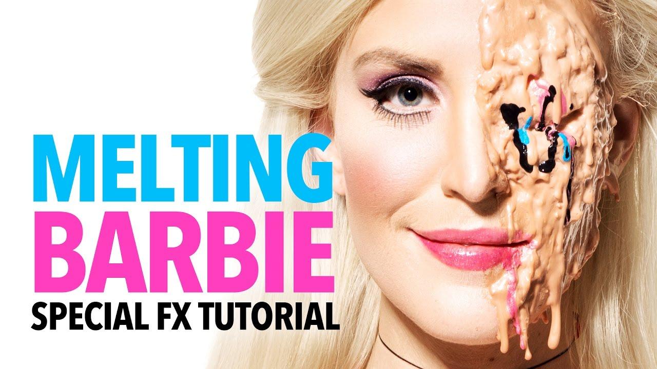 Melting Barbie halloween makeup tutorial - YouTube