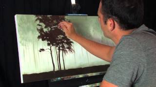Time Lapse Acrylic Landscape Forest Painting Missing Red Trees by Tim Gagnon
