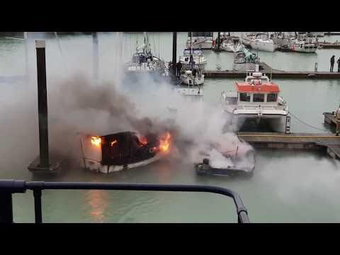 Boat Fire Brighton Marina  23/12/18