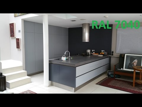 RAL 7040 + RAL 7015 Kitchen resprayed in custom colour