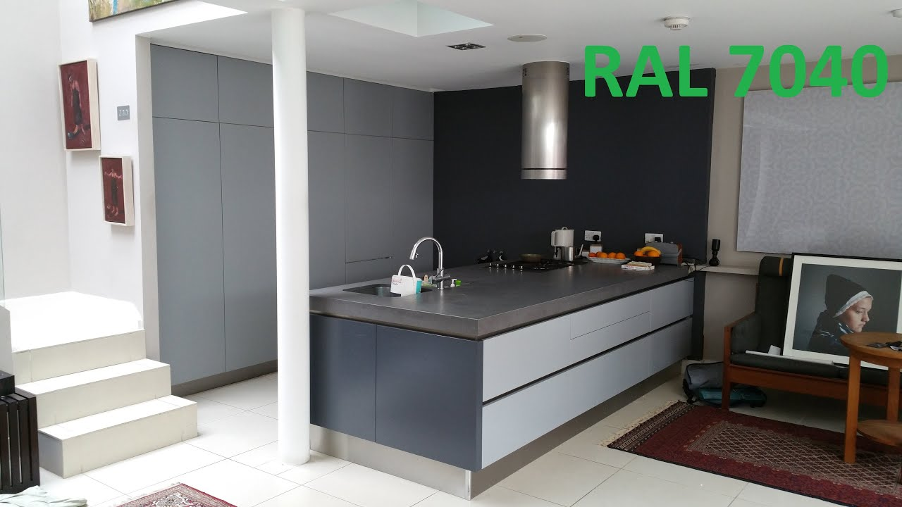 Respray Kitchen Cabinets Ral 7040 Ral 7015 Kitchen Resprayed In Custom Colour Youtube