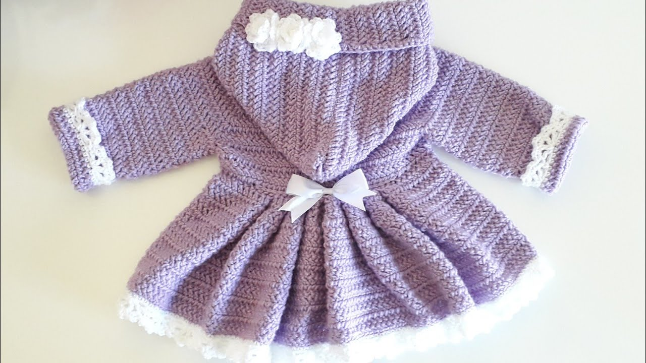 Crochet #17 How to crochet a hooded coat for a baby girl PART 2