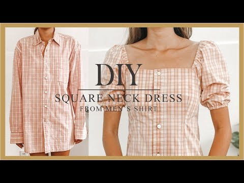 DIY Puff sleeve dress - Refashion Men's Shirt into puff sleeve dress - How to make Square neck dress - YouTube