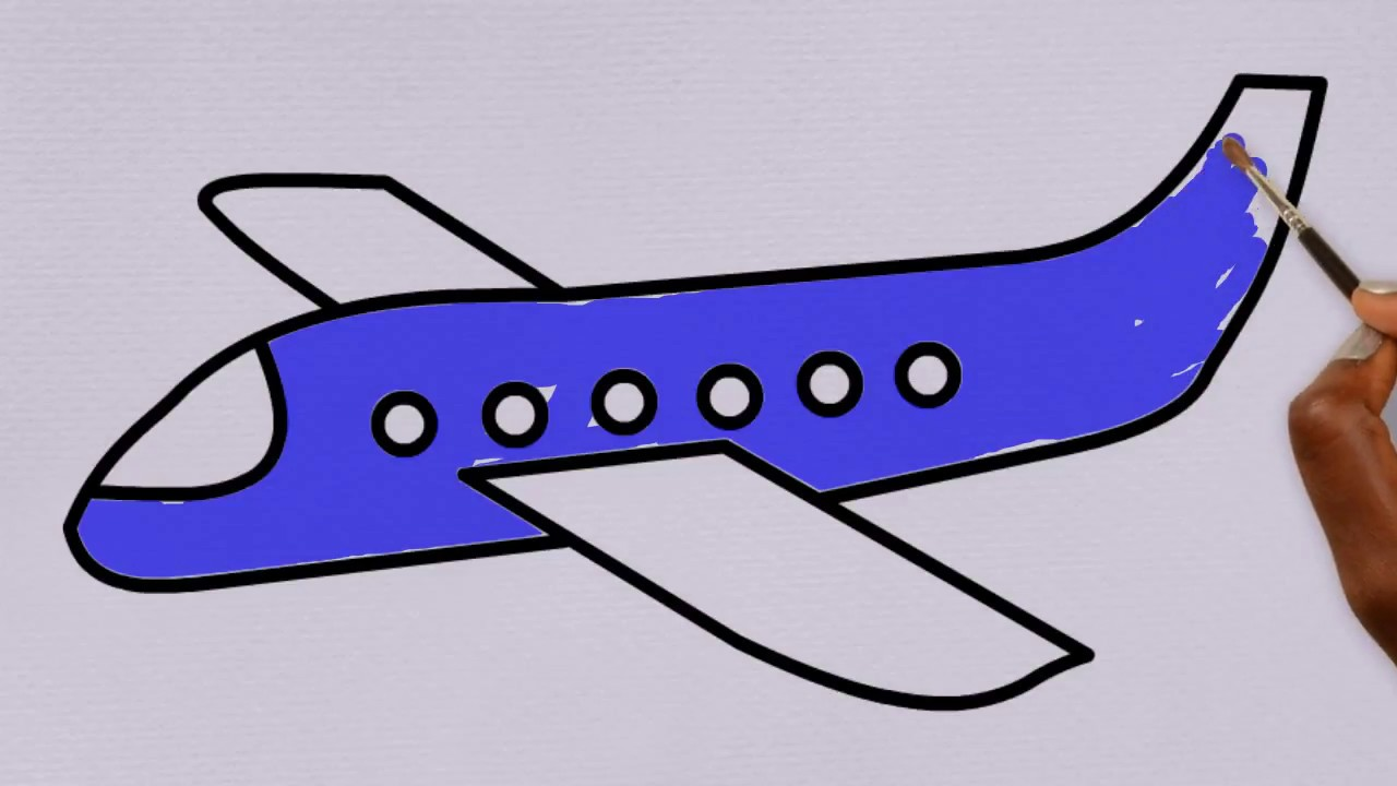Plane Coloring Pages for Kids   Step by Step Drawing a ...