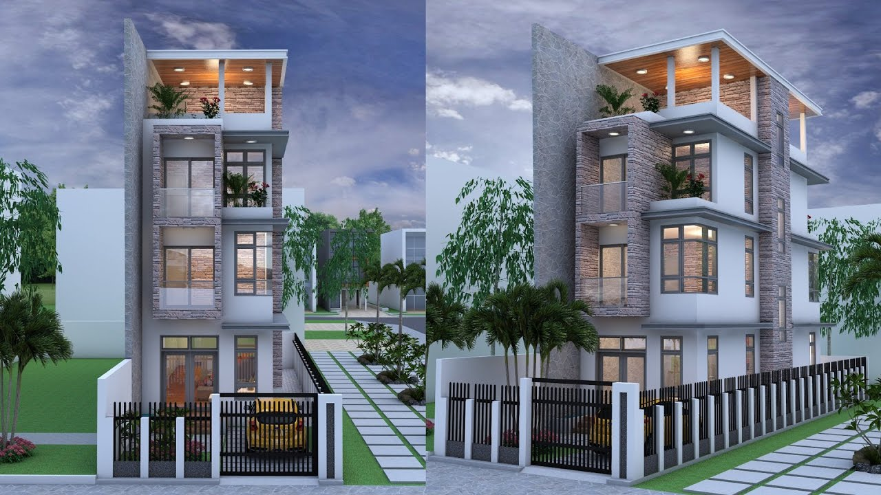 Narrow House 4 Stories House Plan Design SketchUp + Lumoin 6 Render