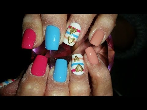 Acrylic Nails l Pink Blue Nude l Nail Design - YouTube