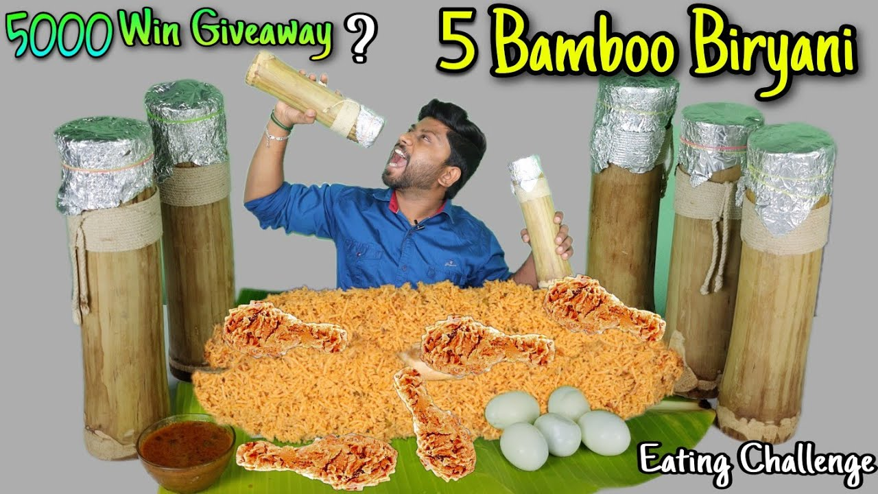 5 BAMBOO BIRYANI RS:5000 PRICE EATING CHALLENGE | Chicken Biryani | Giveaway | Eating Challenge Boys