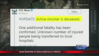Fatal shooting at Pensacola Naval Base; four dead including shooter