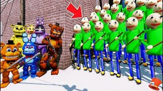 CAN THE ANIMATRONICS DEFEAT THE BIGGEST EVIL BALDI ARMY! (GTA 5 Mods FNAF Kids RedHatter)