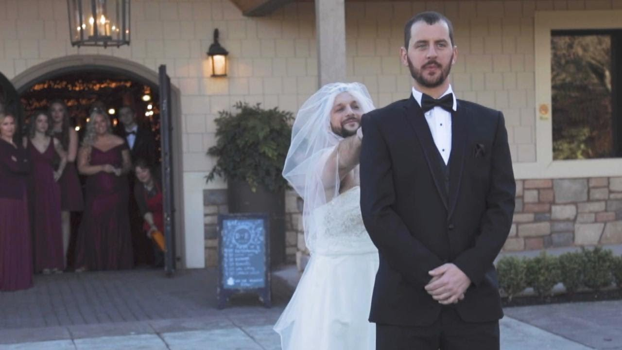 Dressed To Wear At A Wedding.Best Man And Bride Prank Groom With Epic First Look Dress Swap