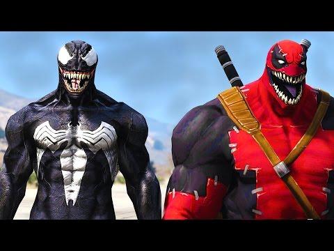 VENOM VS VENOMPOOL - GTA 5 WEB SWINGING MOD !!!