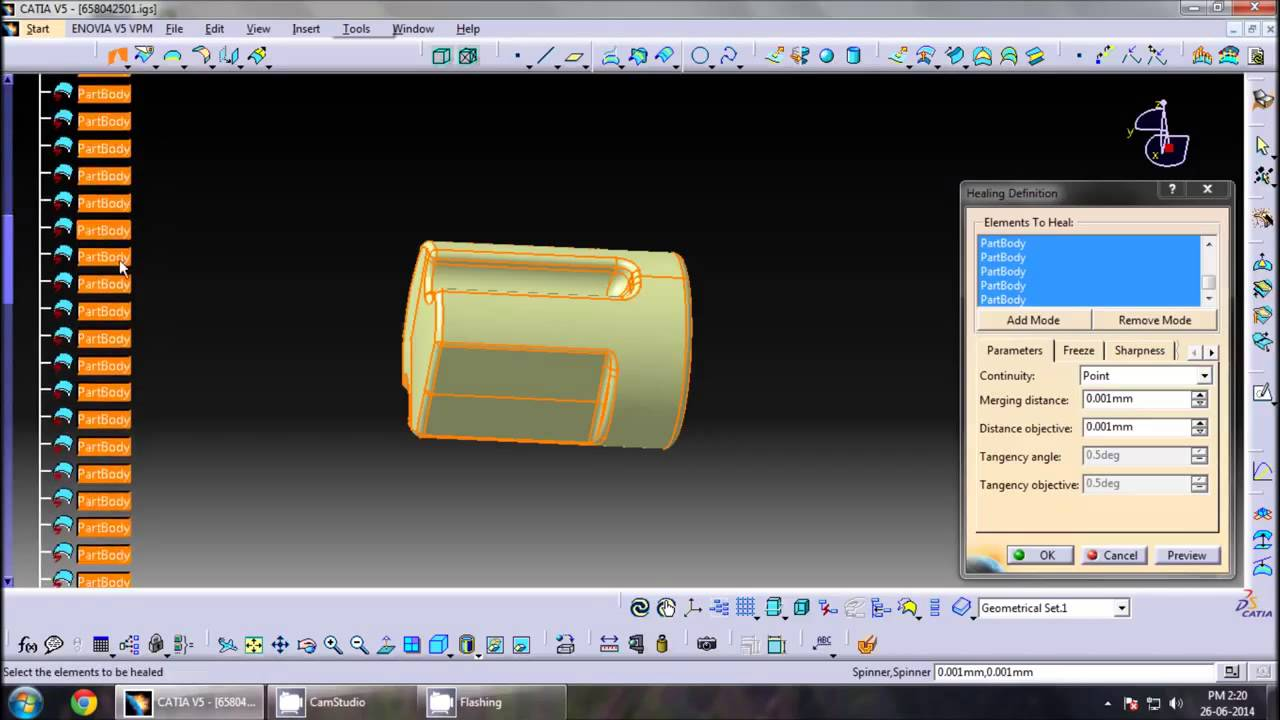 Convert iges file to solid part in catia tips   part Design