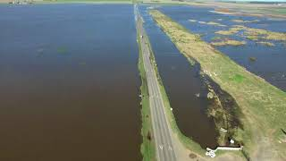 Las inundaciones en Arias, desde el aire
