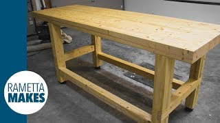 How to Build a 2x4 Workbench with Levelling Feet // DIY