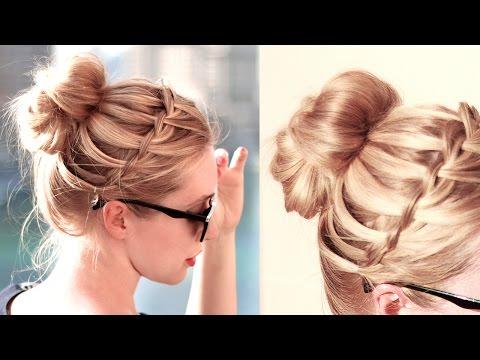 Коса водопад в пучок ★  Причёски в школу, на работу, для средних/длинных волос