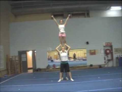 cheerleading stunt step up shoulder stand  youtube