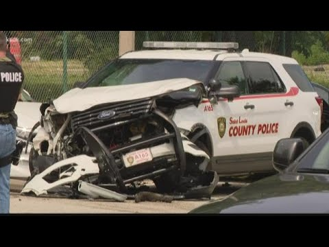 St  Louis County police car crashed into in north city
