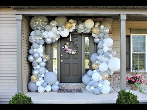 White Gray Outdoor Balloon Garland DIY | How to | Shimmer and Confetti Kit Review