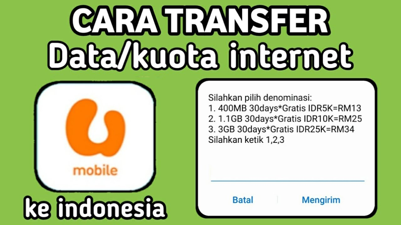 Cara Transfer Data Internet Umobile Ke Indonesia Youtube