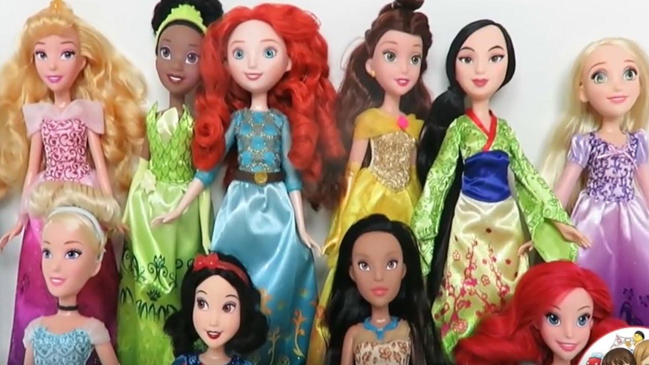 NEW Disney Princess Tiana Rapunzel Jasmine Cinderella Belle Aurora Ariel Dolls