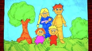 How To Draw A Family | Kids Coloring Video