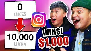 First To 10,000 Instagram Likes Wins $1,000 Cash (IMPOSSIBLE 24 Hour INSTAGRAM CHALLENGE)