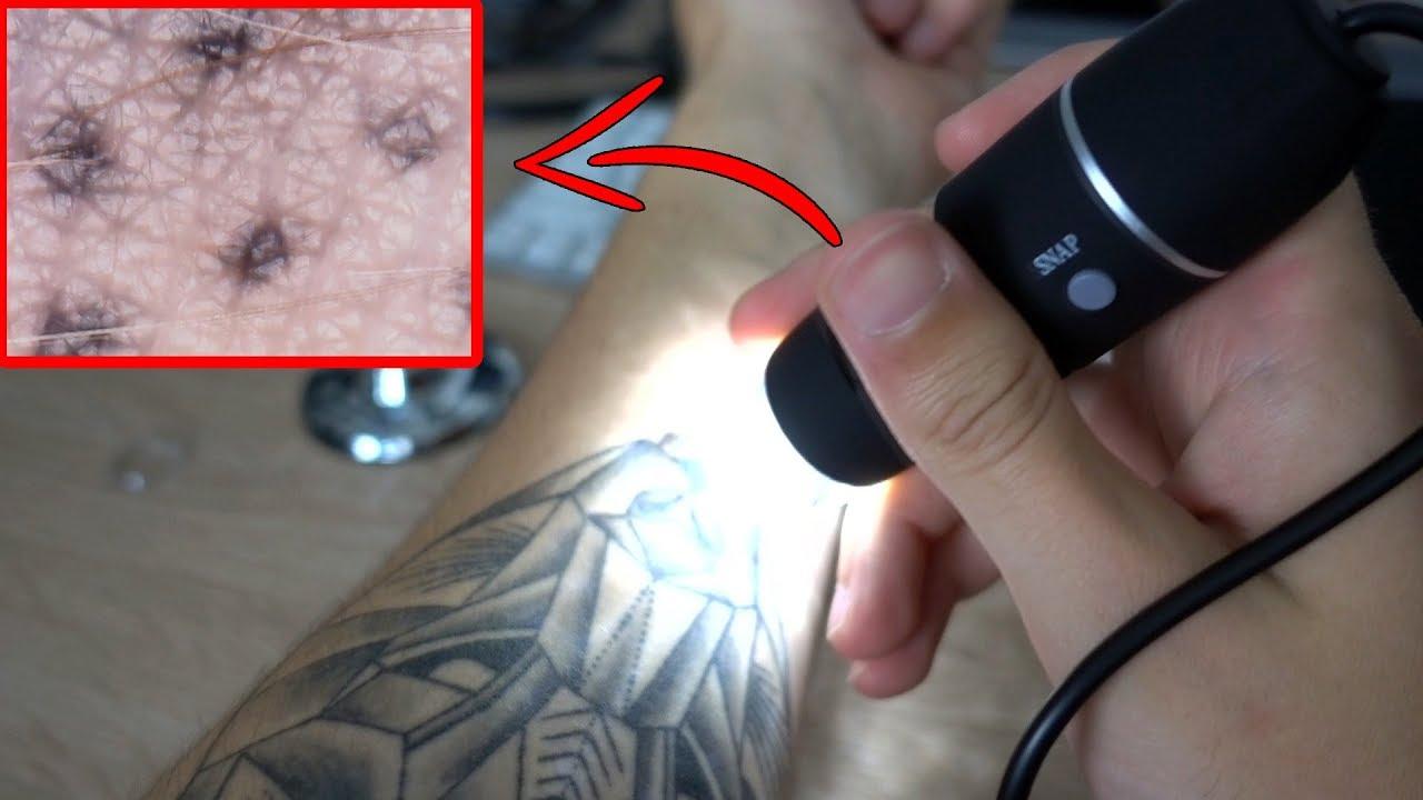 Tattoo unter facher vergrößerung anschauen u ac usb mikroskop