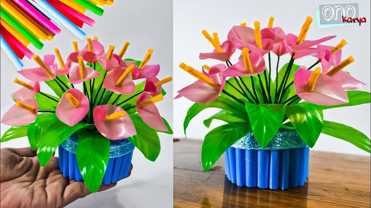 Cara Membuat Bunga Sedotan Plastik Lily Mini Diy Straw Flowesr 2019 Youtube