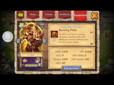 Castle Clash Equipement Burning Plate 2/5 Wall Demo