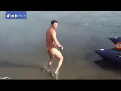 Russian Man Naked Fish