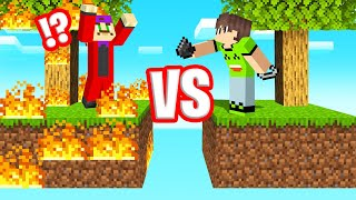 I BURNED DOWN My Friends SKYBLOCK Island! (Minecraft)