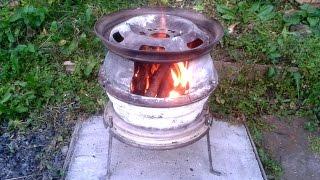 Садовая Печка мангал из колёсных дисков