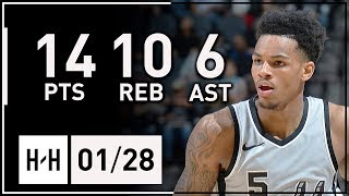 Dejounte Murray Full Highlights Spurs vs Kings (2018.01.28) - 14 Pts, 10 Reb, 6 Assists