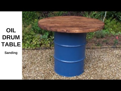 Reclaimed Oil Drum Scaffold Board Table (Final Top - Sanding and Prep) - Part 7