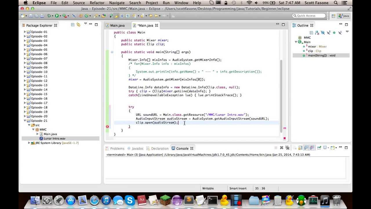 Mixer Java Tutorials: Episode 21 - Java Sound API - Clips