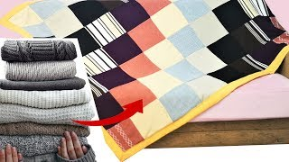 Converter blusas velhas em manta de retalhos