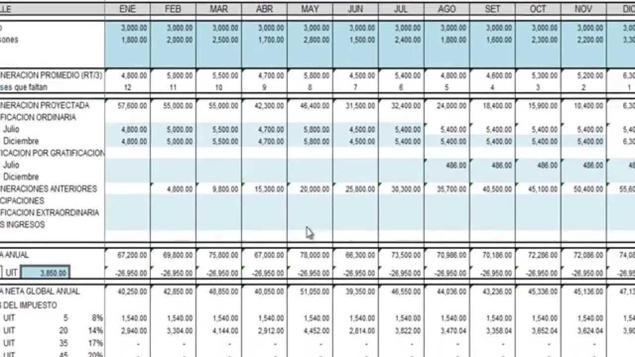 Plantilla en excel para cálculo de renta de quinta categoría - YouTube