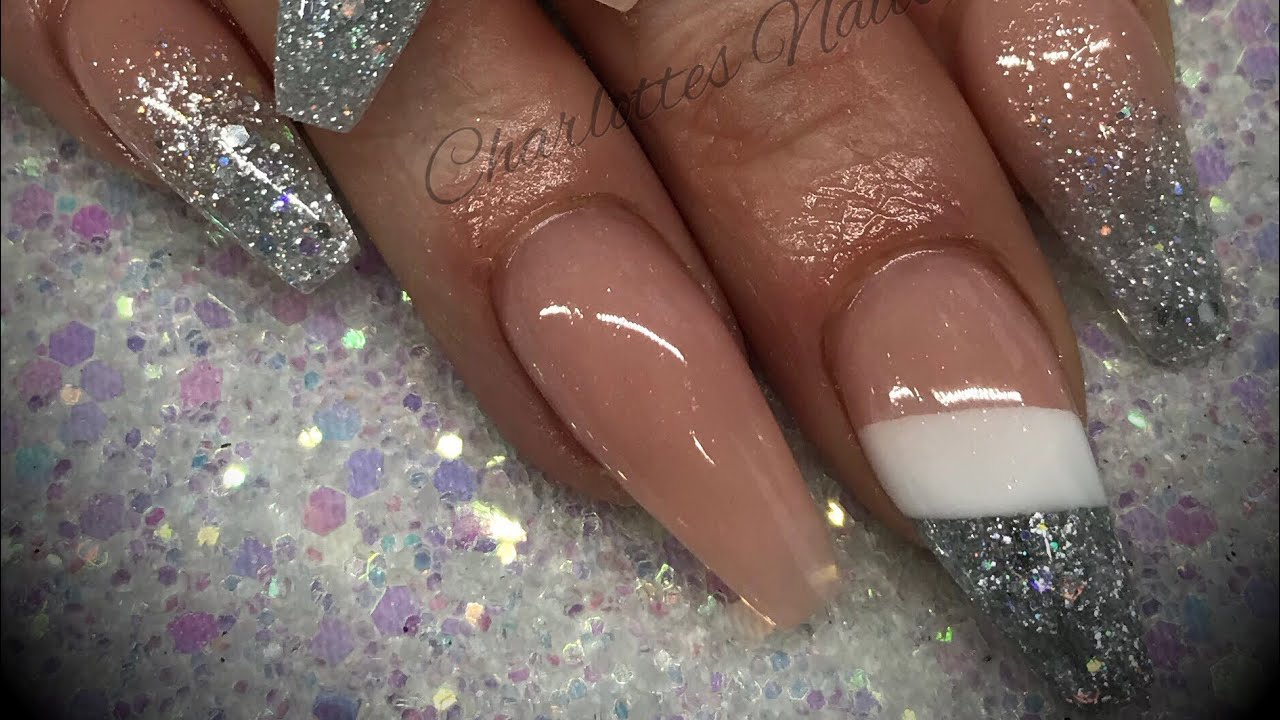 Acrylic Nails Cutout Design With Glitter Youtube