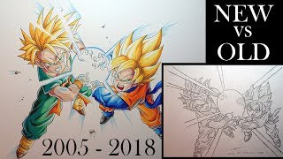 Old vs New | Progress Drawing | Goten and Trunks