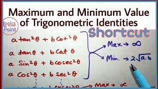 Maximum and Minimum Value of Trigonometric Identities Short trick || SSC CGL MATHS SHORT CUT