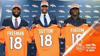 Courtland Sutton, Royce Freeman, Isaac Yiadom | Denver Broncos Press Conference