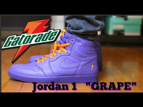 b2f2bbfd452c Air Jordan 1 Gatorade Grape Review and on feet - YouTube