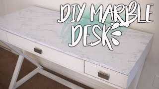 DIY MARBLE DESK MAKEOVER | CHEAP AND EASY