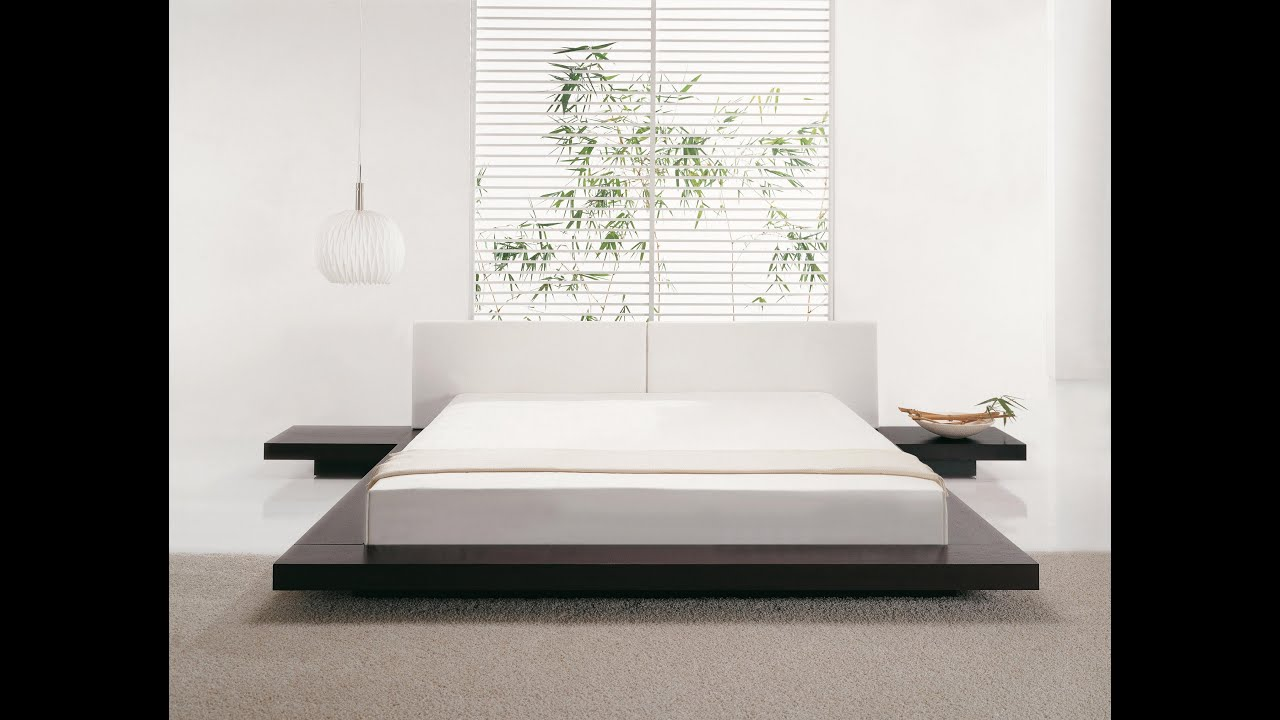 Beliani wooden bed japan style super king size with side tables zen eng youtube - Japanese inspired bedroom ...