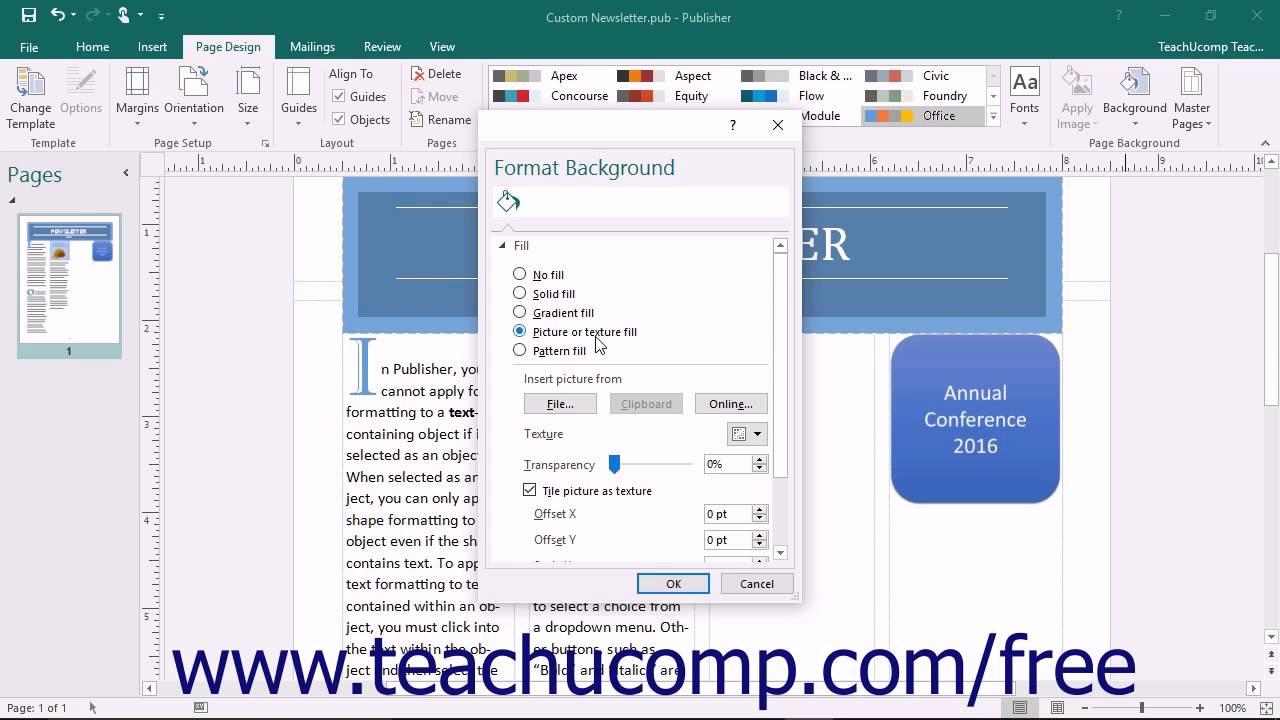 publisher 2016 tutorial customizing page backgrounds