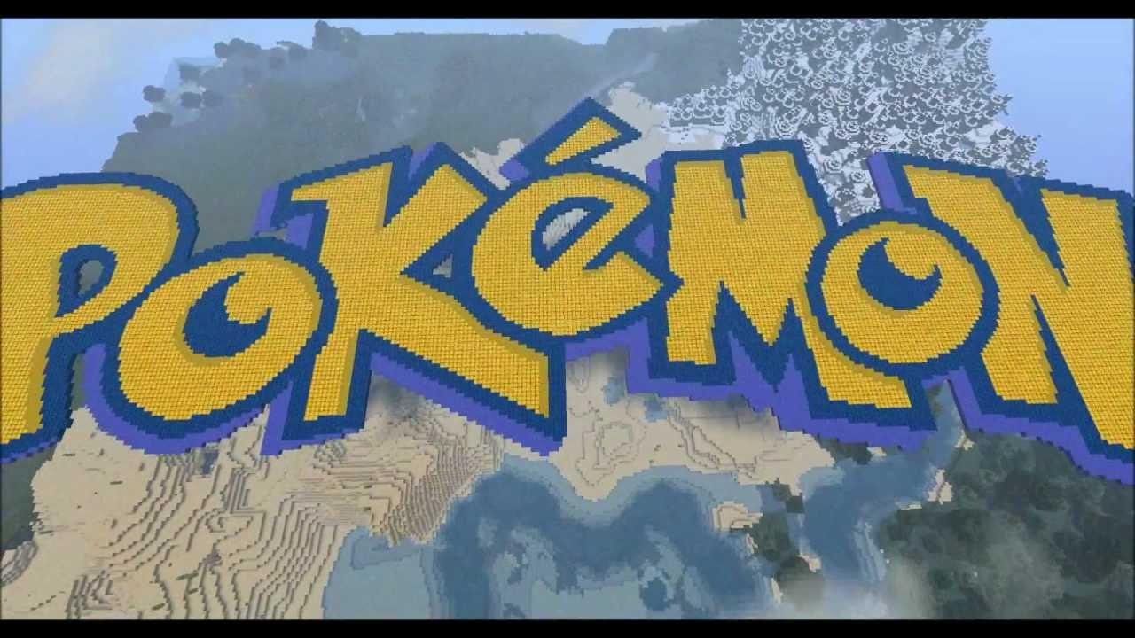 Biggest pokemon logo in minecraft ever youtube - Pokemon logo minecraft ...