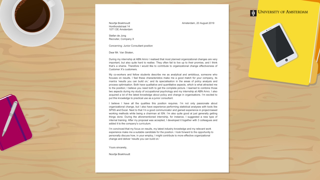 How to write a powerful cover letter? | University of Amsterdam