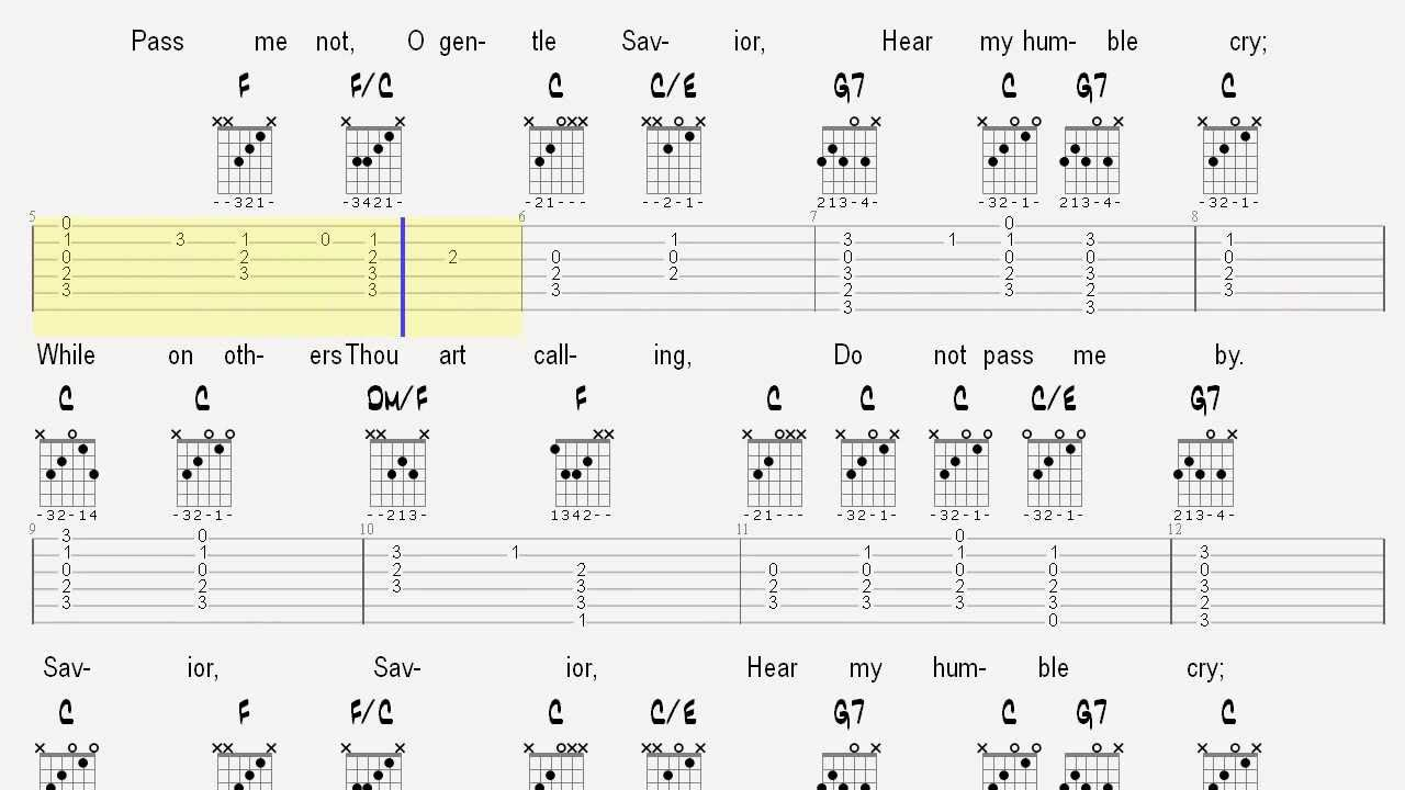 Learn Hymns On Guitar Pass Me Not Tablature And Chords Youtube