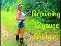 One GIRL shooting BROWNING MAXUS 12 GAUGE SHOTGUN at close range