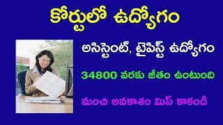 Court assistant and typist jobs in Telugu 2018 || 30,000 salary in telugu 2018